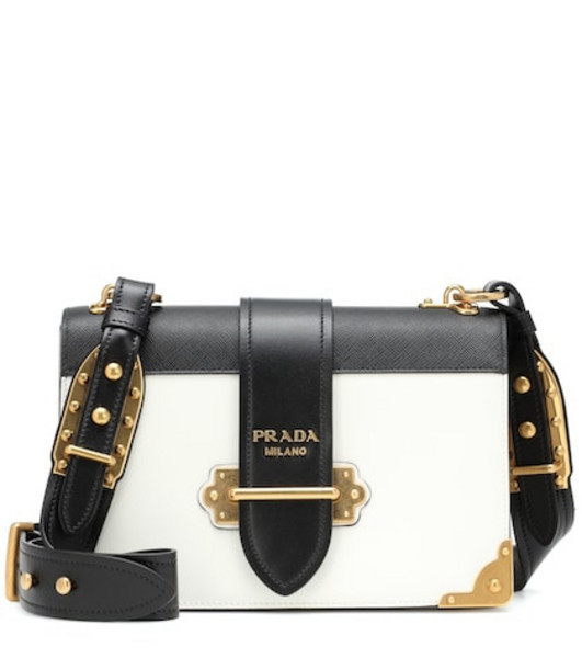 Prada Cahier leather shoulder bag in white