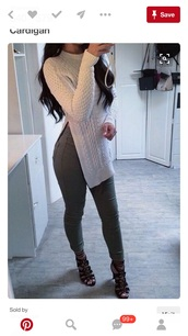 pants,olive green,sweater,off white frine cardign