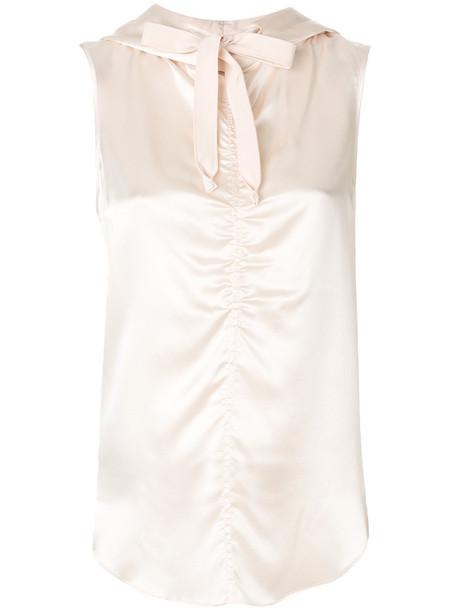 Dorothee Schumacher - hooded vest top - women - Silk - 4, Pink/Purple, Silk
