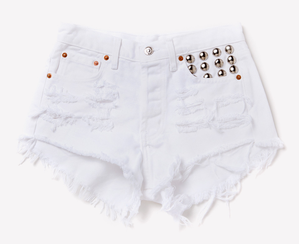 450 White Frayed Studded Shorts | RUNWAYDREAMZ