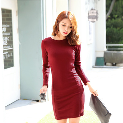 70b754ab1c9a Slim cut burgundy simple Korean one piece dress · Korean Fashion Shop ·  Online Store Powered by Storenvy