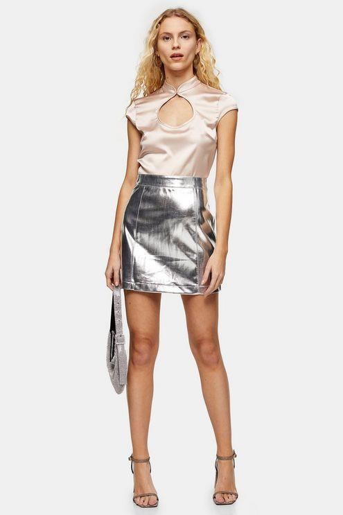 Silver Pu Mini Skirt - Silver