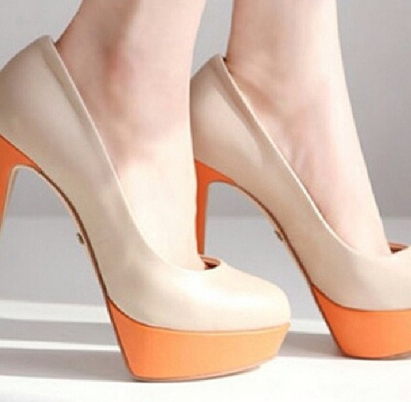 nude shoes shoes orange shoes