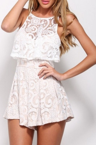 romper white lace wots-hot-right-now lace sleeveless white romper sexy party dresses party celebrities in white