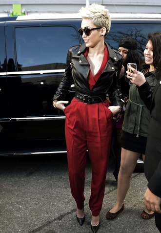 jumpsuit miley cyrus red jumpsuit leather jacket jacket black leather jacket with  belt coat