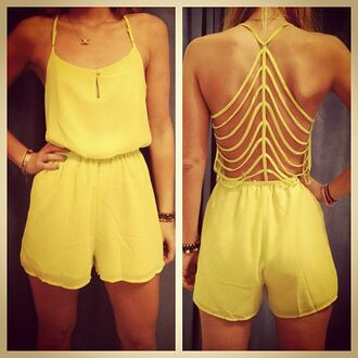 dress yellow romper sexy back backless yellow romper jumpsuit stripes cut offs trendy