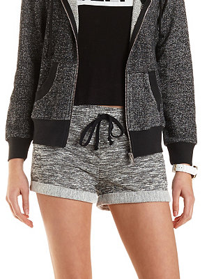 Cuffed drawstring french terry shorts: charlotte russe
