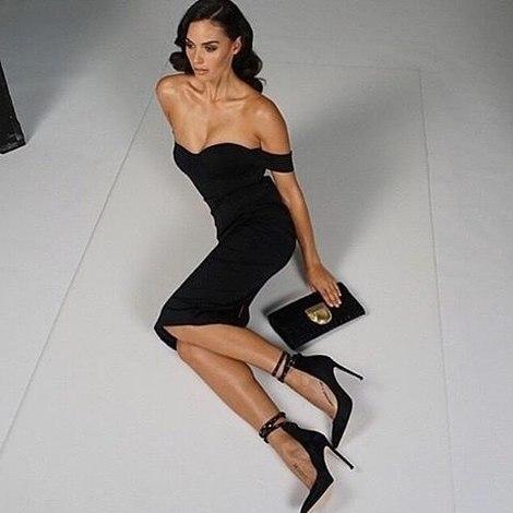 Bardot Sweetheart Midi Bandage Dress Black