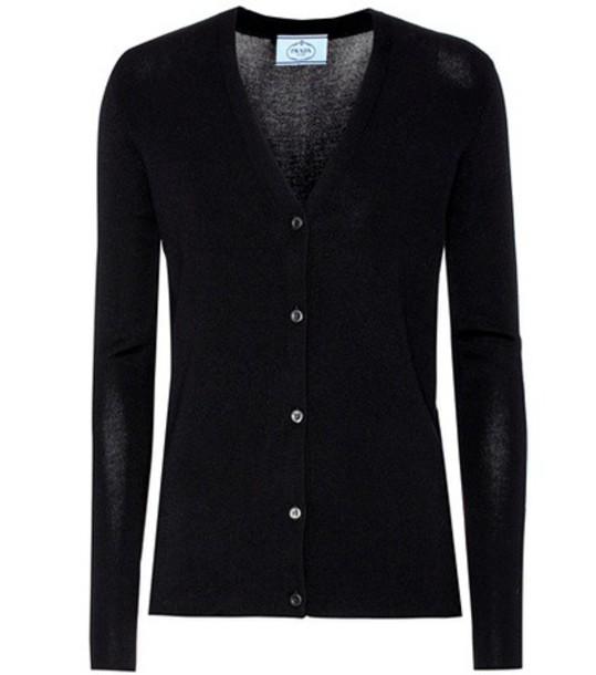 Prada Cashmere and silk cardigan in black