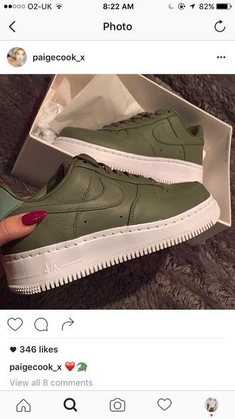 shoes nike air force 1 green sneakers nike sneakers nike