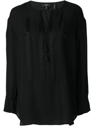 tunic embroidered drawstring black top