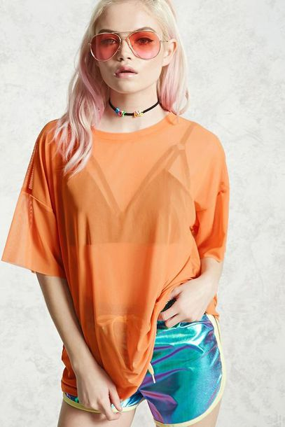 top orange top sheer top orange sheer party top party party outfits pool party chill party girl mesh top see through top shiny killin it tie dye shorts track shorts black bralette black bra 90s style choker necklace orange sunglasses fierce shiny shorts