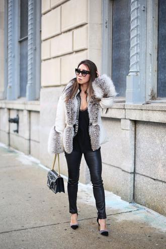 fashion-a-holic - chicago fashion blog blogger pants jacket leggings dress sweater fur coat winter outfits leather pants shoulder bag high heel pumps