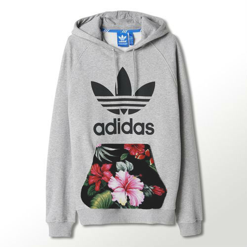 Aw14 cut & sew grey authentic adidas trefoil hoodie with hawaiian pouch pocket