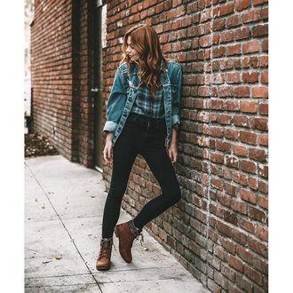 jeans tumblr denim jacket blue jacket denim black jeans boots brown boots flat boots fall outfits back to school tartan flannel flannel shirt plaid