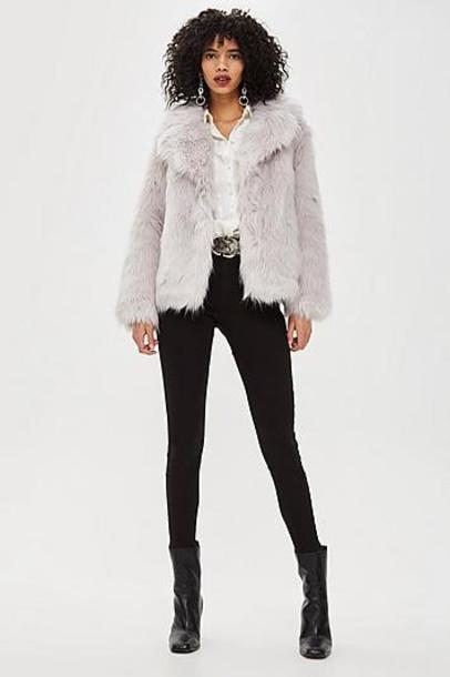 TopShop Luxe Faux Fur Coat - Pale Grey