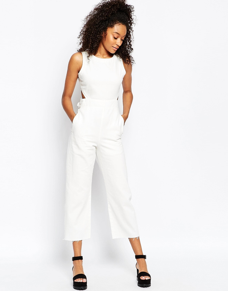 laest technology info for complete range of articles ASOS Denim Wide Leg Cut Out Jumpsuit In White at asos.com