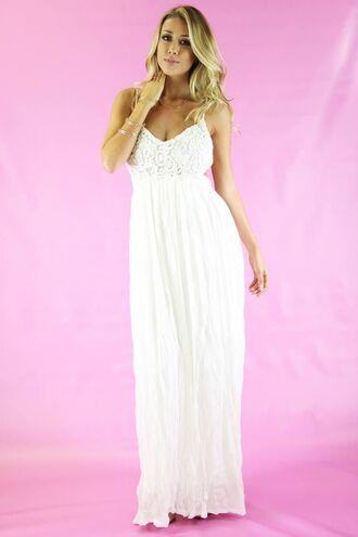 white maxi dress lace bodice dress backless dress spaghetti strap crochet lace dress white crochet www.ustrendy.com
