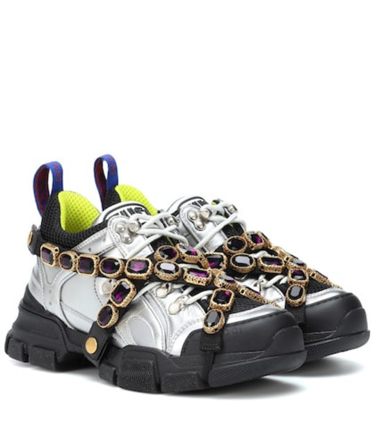 embellished sneakers silver shoes
