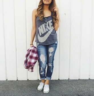 top nike t-shirt grey fashion jeans ripped jacket
