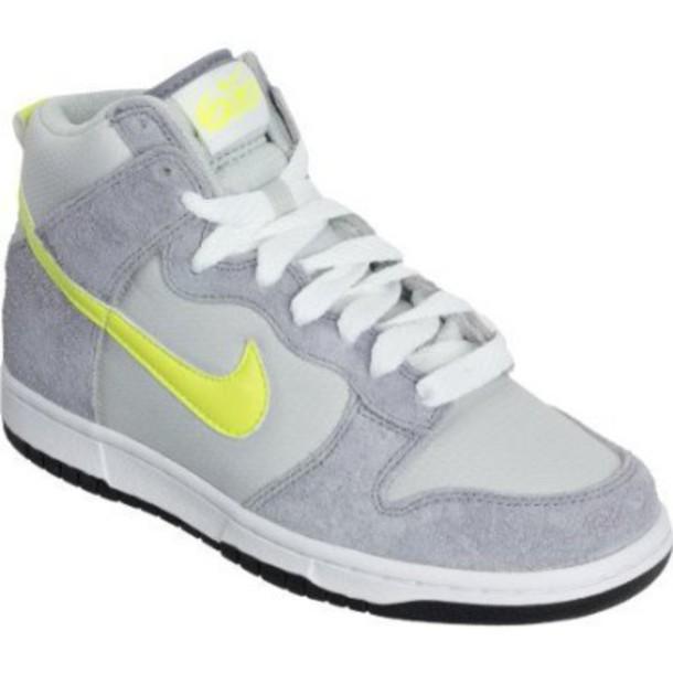 shoes, nike, high tops, yellow, grey