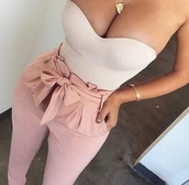 top,strapless,nude,bodysuit,pants,high waist tie pants,jumpsuit,pink,heels,cute,cute outfits,cute top,sexy,tumblr,tumblr outfit,pinterest,instagram