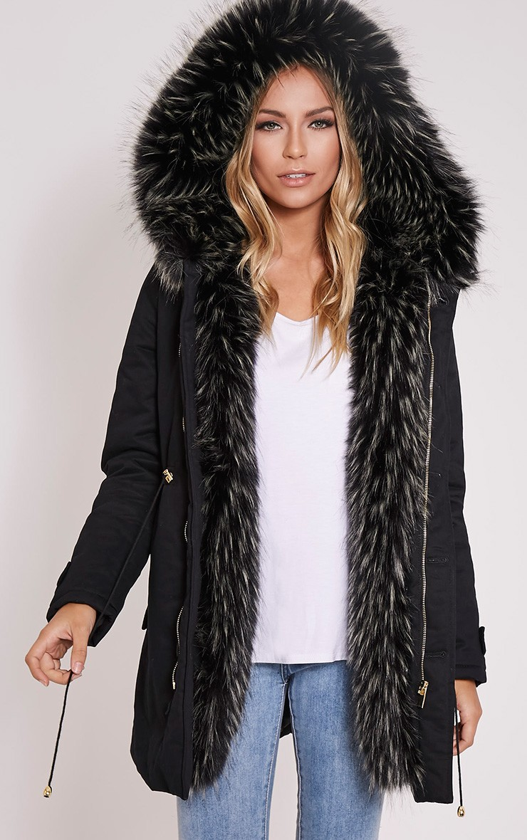 Black Premium Faux Fur Lined Parka Coat
