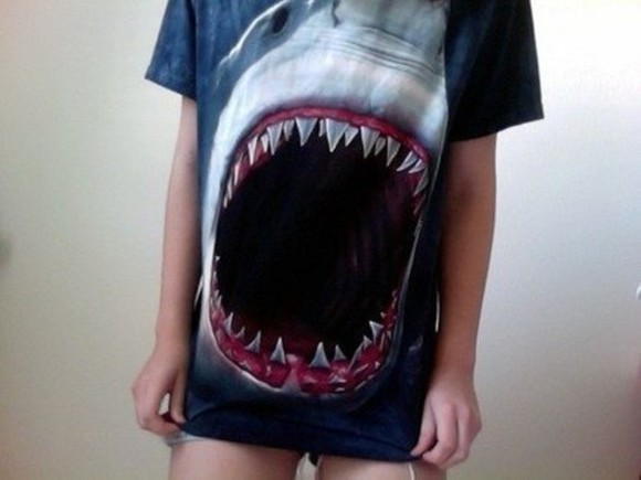 t-shirt shark amazing dark scary mouth print dark blue