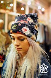 hat,flowers,beanie,hat beanie hair accessories