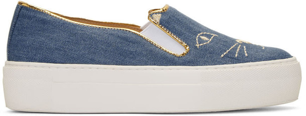 charlotte olympia denim cool cats sneakers blue shoes