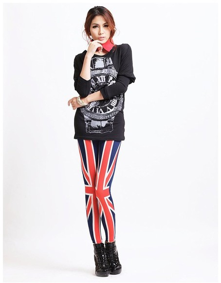 union jack british flag red pants tights