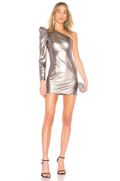 Lovers + Friends dress metallic silver