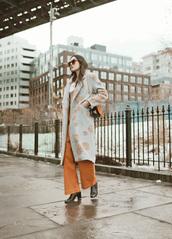 coat,tumblr,blue coat,mint,light blue,pants,orange pants,orange,wide-leg pants,sunglasses,boots,black boots