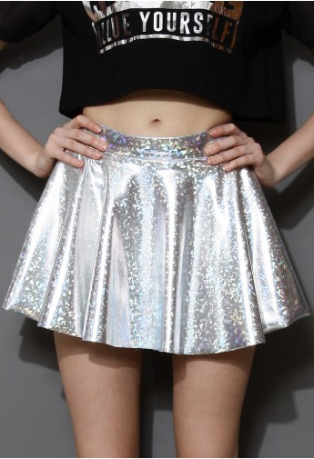 Holographic Silver Mini Skater Skirt - Retro, Indie and Unique Fashion