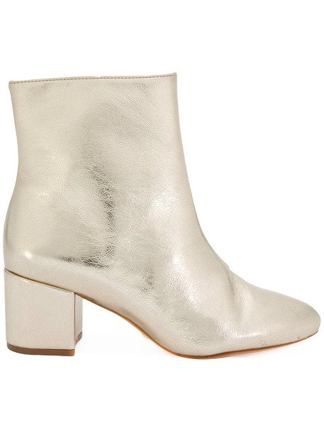 Schutz women ankle boots leather grey metallic shoes