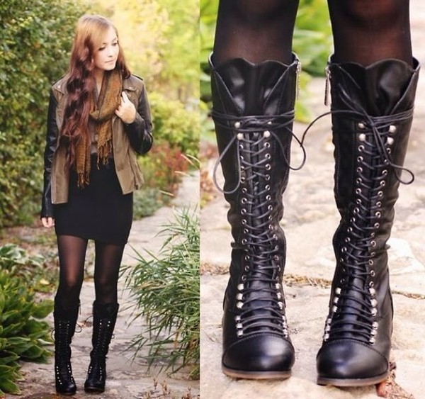 shoes boots combat boots girl black knee high boots
