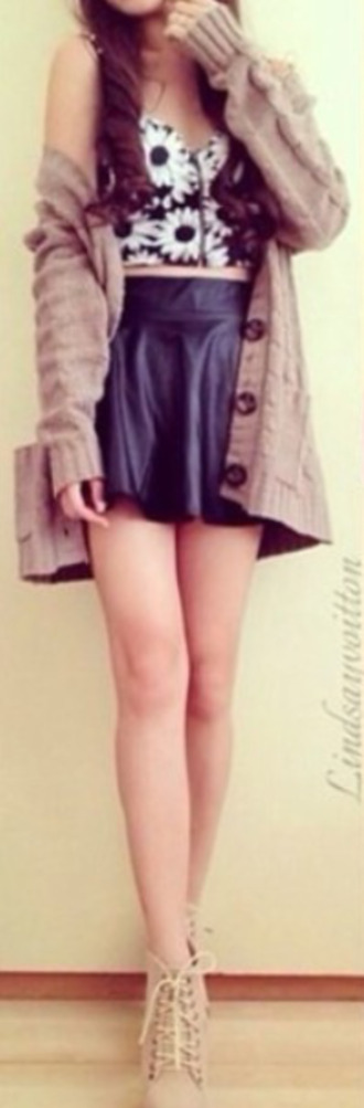 button up sweater tank top shoes skirt button up sweater leather skirt leather tumblr tumblr outfits