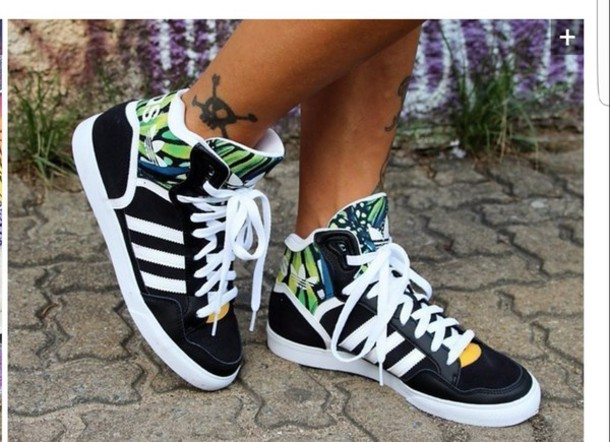 shoes black and green tropical sneakers high top sneakers adidas adidas shoes