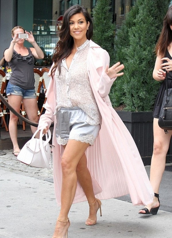 kourtney kardashian shorts shoes bag nude blouse