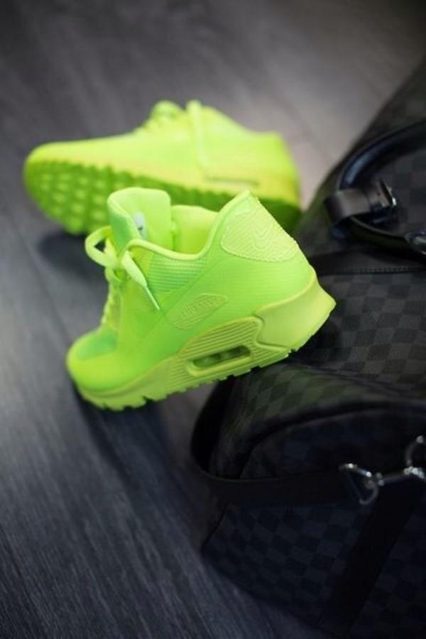 shoes nike air nike sneakers nike nike air max 90 sneakers neon green neon green