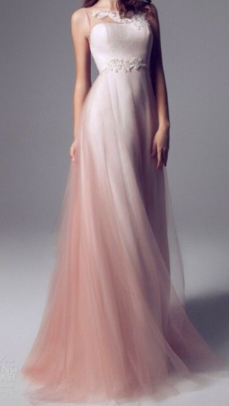 ombre dress pink off white white dress