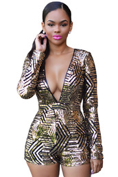 romper,plunge v neck,deep v jumpsuit,open bust,sequins,gold sequins,short jumpsuit,short romper,long sleeves,bodycon,sexy,sexy romper,sexy jumpsuit,sexy party dresses,black and gold,clubbing jumpsuit,sexy club romper,jumpsuit