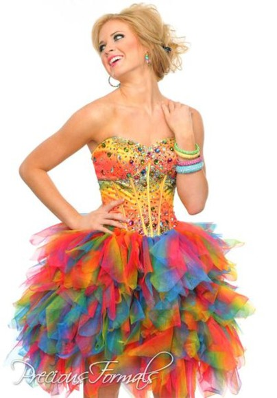 dress pretty strapless short amazing fluff hot poofy dress mermaid prom dresses artistic art paint beautiful sexy sexy dress sexy prom dress fluffy dress formal gorgeous stunning rainbow sequin dress