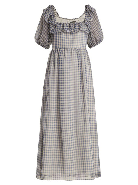 ALEXACHUNG dress ruffle gingham blue