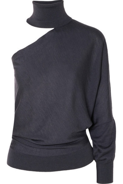 Brunello Cucinelli - One-shoulder Cutout Cashmere And Silk-blend Turtleneck Sweater - Anthracite