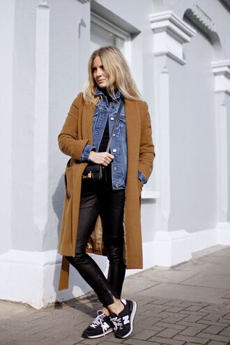 shoes denim jacket brown coat leather pants new balance sneakers blogger