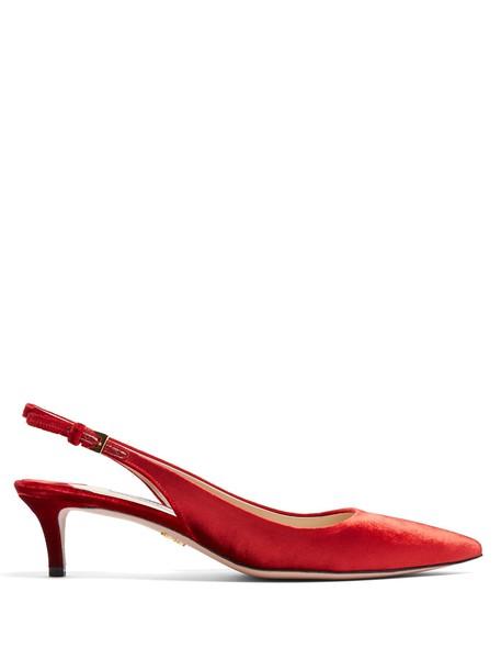 Prada heel pumps velvet red shoes