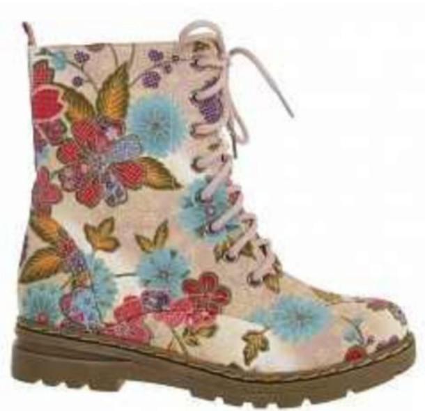shoes floral boots