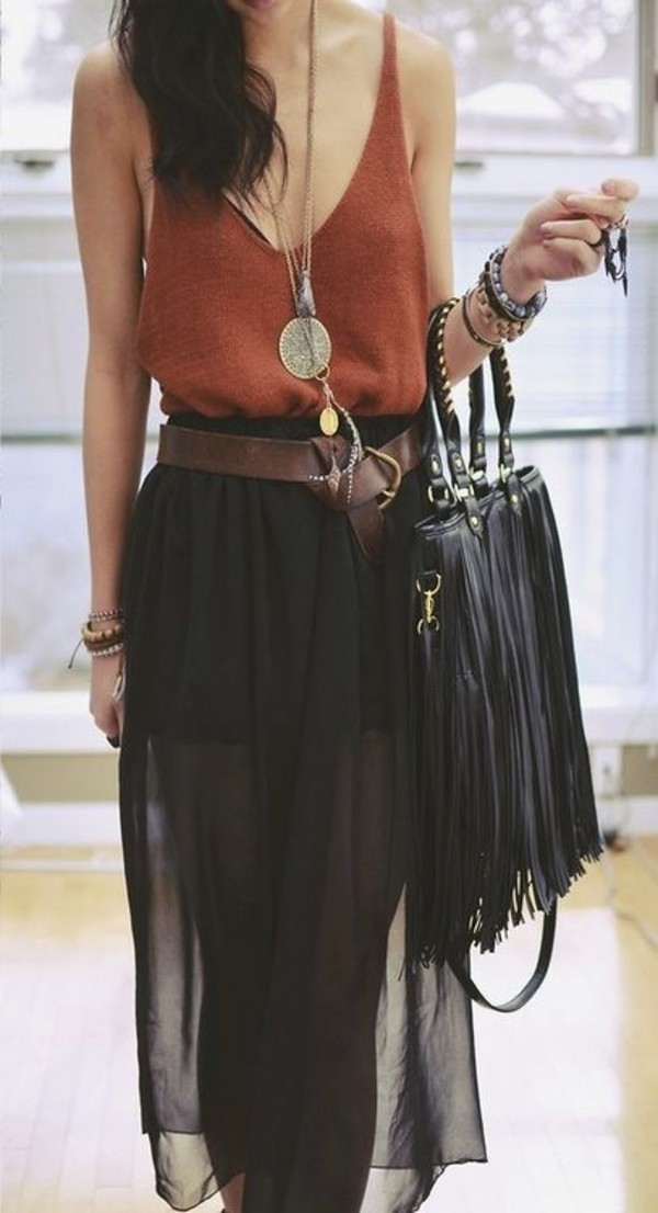 t-shirt sleeveless orange summer orange vest summer vest fringed bag leather bag high waisted skirt dress cute fashion jewels bag skirt black maxi sheer tulle skirt shirt belt red maxi skirt top indie hipster cami tumblr boho tank top tumblr outfit boho chic boho shirt gypsy fringes edgy long skirt