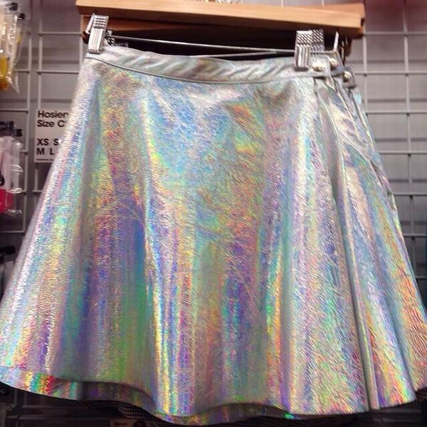 skirt silverskirt rainbowskirt rainbowcolors silver pleatedskirt babydollskirt